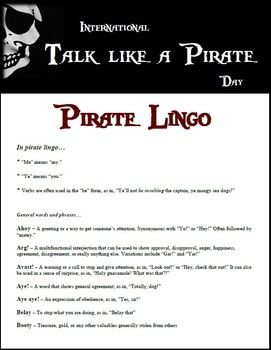 """Talk like a Pirate Day"" Research Activity"