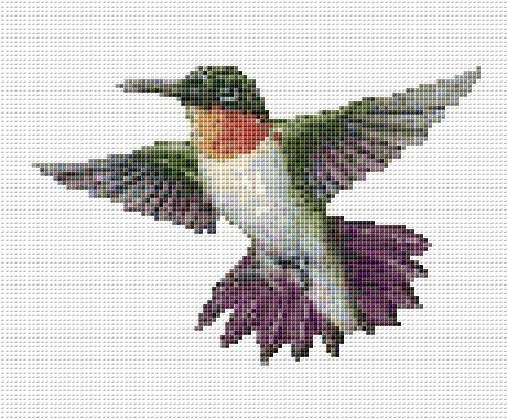 Hummingbird Counted Cross Stitch Pattern Chart by xstitchpatterns ~~~ #Handmade #Supply on Etsy ~~~ Great for the Crafter or DIYer!!