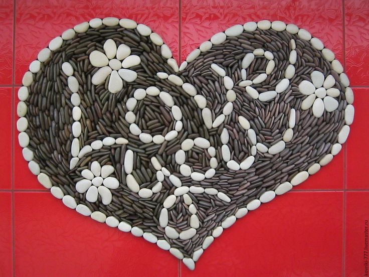 """Купить Массажный каменный коврик """"Сердце"""" - коричневый, коврик для ванной…"""