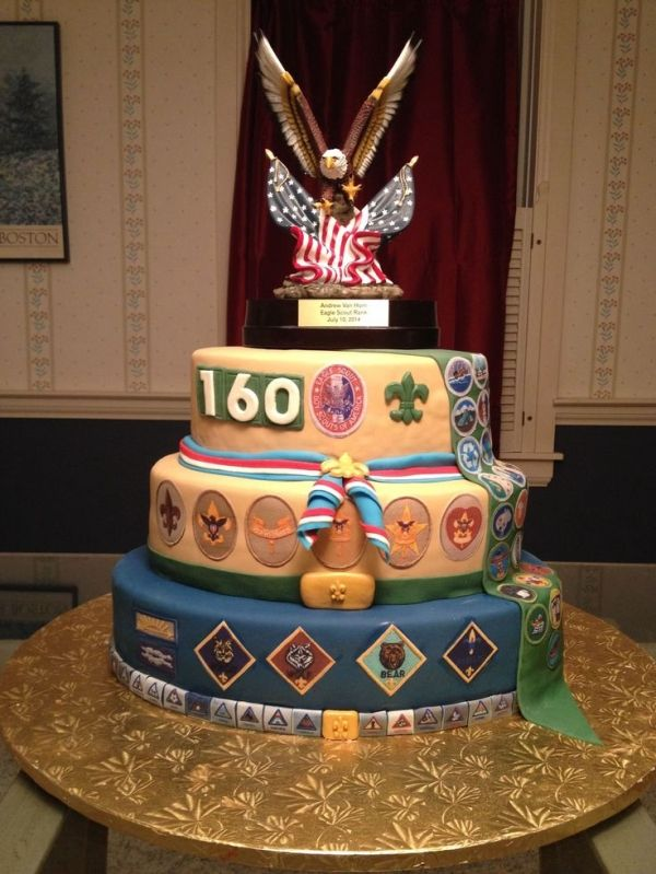 Eagle Scout cake for son #2. I am now a double eagle mom! - Eagle Scout Court of a Honor cake. by jana