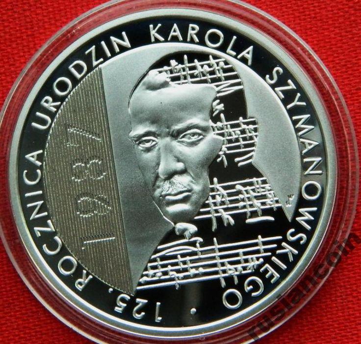 10 злот 2007 музыкант Шимановс СЕРЕБРО 925 С Рубля