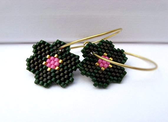 Earrings Deep Jungle Flowers Hunter Green Dark by AmaltheaCph, kr300.00