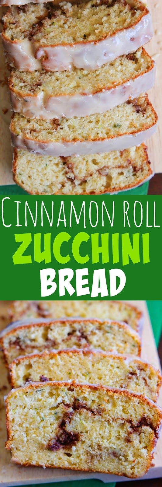 I turned one of our favorite Cinnamon Roll Quick Bread recipes in to a zucchini version.  When you have a lot of zucchini on hand, yo...