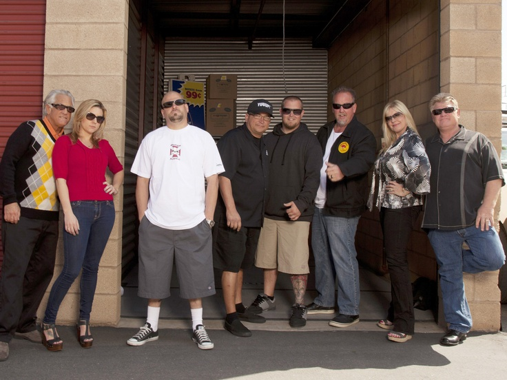 Storage Wars (TV show) Barry Weiss, Brandi Passante, Jarrod Schulz, Dave Hester, Brandon Sheets, Darrell Sheets, Laura Dotson and Dan Dotson (from left)