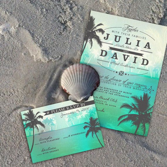 Beach Wedding Invitation Tropical Beach Wedding by OddLotEmporium #wedding #invitations