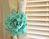 NEW YEARS SALE Two Dahlia Flower Curtain Tie Backs Curtain Tiebacks Curtain Holdback -Drapery Tieback-Baby Nursery Decor- Mint Green Decor