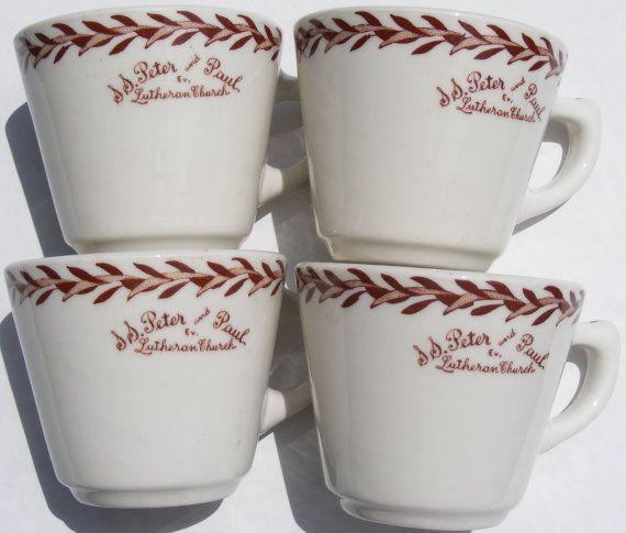 4 Vintage Restaurant Ware Coffee Mugs Peter & by BakerStPaperGoods, $10.00