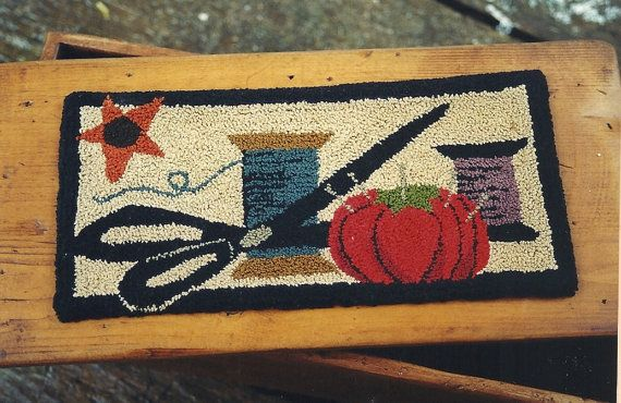 Primitive Folk Art Punch Needle Pattern: MY SEWING BOX - - Weaver's Cloth With Printed Design is Included