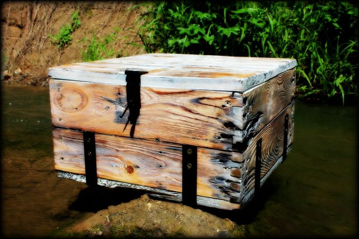 Wooden case made from old amunition boxes.