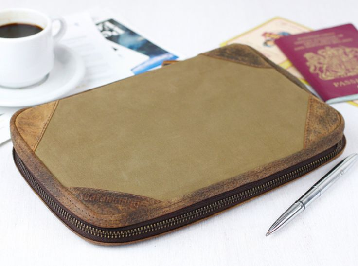 Our khaki canvas travel organiser will carry all travel documents for you, family, partners or friends. #canvas #giftsforher #giftsforwomen