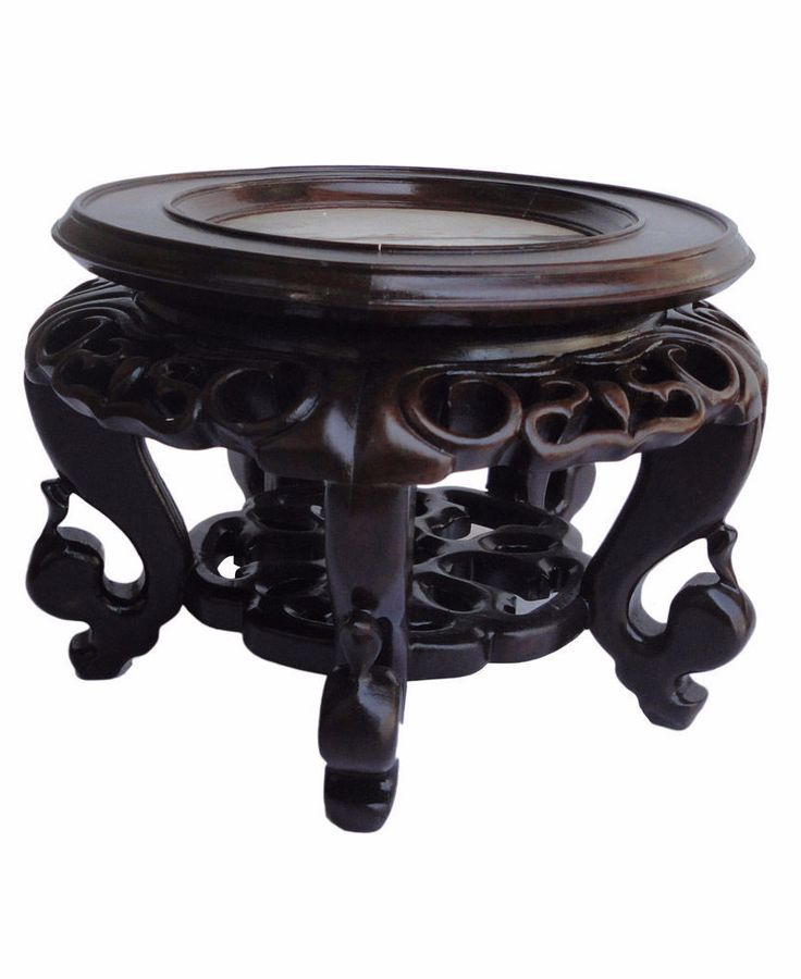 High Quality Chinese Hand Carved Hua Li Rosewood Round Marble Top Display Stand mh133S