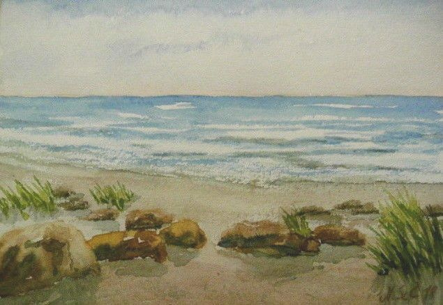 Original Aquarell 12 17 Cm Steine Am Strand Landschaft See