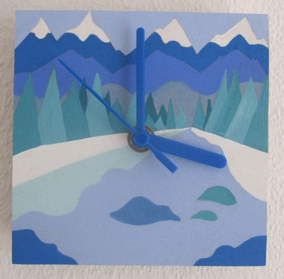Gorgeous Contemporary MountainScape Wooden hand painted clock Find it on: https://www.etsy.com/uk/listing/194961507/unique-and-colourful-homemade-and-home?ref=shop_home_active_2 TimeAndDesign (Etsy) https://www.etsy.com/uk/shop/TimeAndDesign?ref=l2-shopheader-name