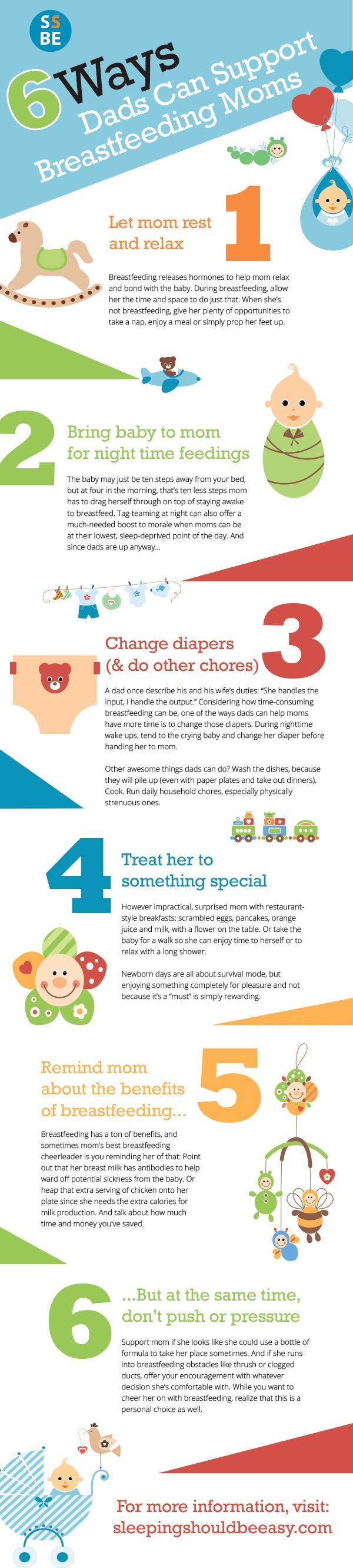 Mom may be breastfeeding, but there are many ways for dad to offer breast feeding support too. Here are 6 ways dads can support breastfeeding mothers, from cheering her on to helping to keep a milk supply for baby. Comes with a free download. Perfect for every nursing mom!