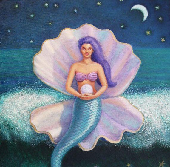 Mermaid art painting Goddess spiritual by HalstenbergStudio, $450.00