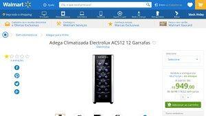 [Wal-Mart] Adega Climatizada Electrolux ACS12 12 Garrafas 01121WBA289 33276 por R$ 948,96