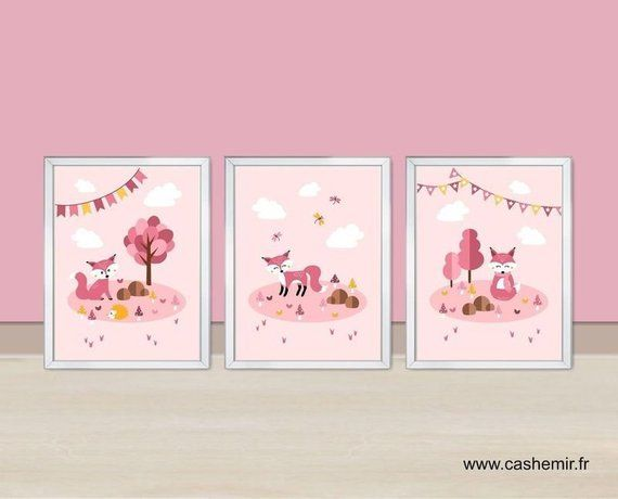 Affiche Bebe Chambre Fille Illustration Renard Rose Decoration