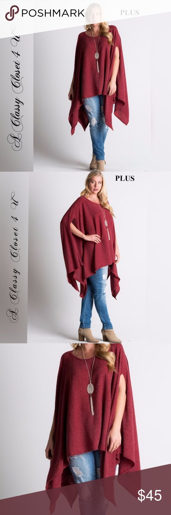 Plus Size Asymmetrical Hem Knit Poncho For sale is a classy, chic and flattering loose fit ribbed tunic poncho top with asymmetric hem. Best worn with a tank underneath. So fab!! Fabric Content: 81% POLYESTER 15% RAYON 4% SPANDEX Made In: USA ***PLUS SIZE** 1XL-2 / 2XL-2 / 3XL-2 Tops