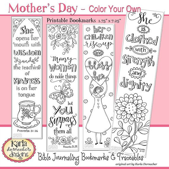 A Godly Woman PROVERBS 31 Color Your Own Bible Bookmarks Journaling Mothers Day