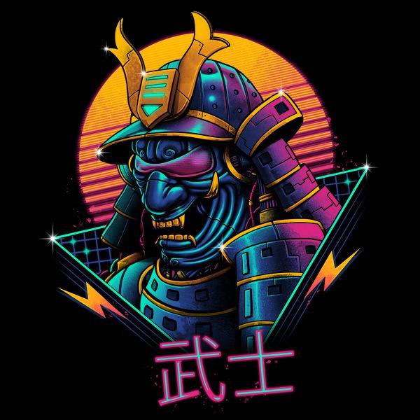 The Ancient Samurai In New Retro Wave Lo Fi 80 S Style Ancient Samurai Retro Waves Synthwave Art