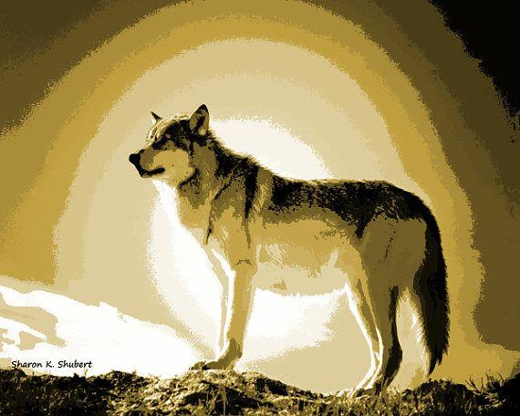 Wolf Art Southwestern Home Decor Native by GrayWolfGallery on Etsy