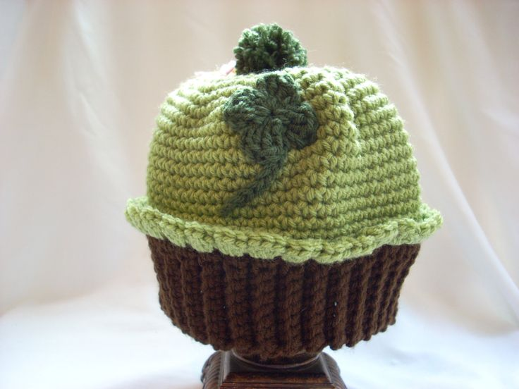 Toddler Crochet Hat, St. Patrick's Day Hat, Green Cupcake Boy Hat, Toddler Winter Hat, Costume Hat, Irish Clover Hat, Crochet Food Hat by LiLphaniesLine on Etsy