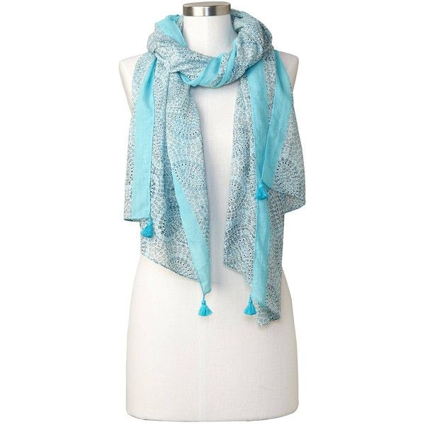 Gap Women Paisley Tassle Scarf (£23) ❤ liked on Polyvore featuring accessories, scarves, infinity blue, regular, blue shawl, infinity shawl, tassel scarves, gap scarves and paisley shawl