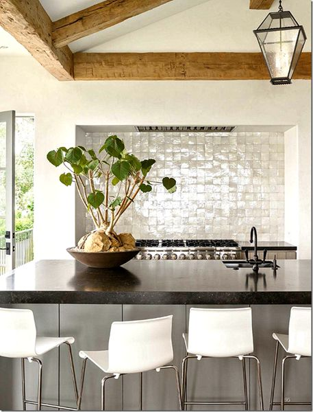 love the sparkly backsplash against the modern rustic kitchen - Rustic Modern Kitchen 2