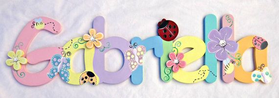 Pastel Ladybug Garden Painted Wall Letters by TheFairyPaintbox, $17.00
