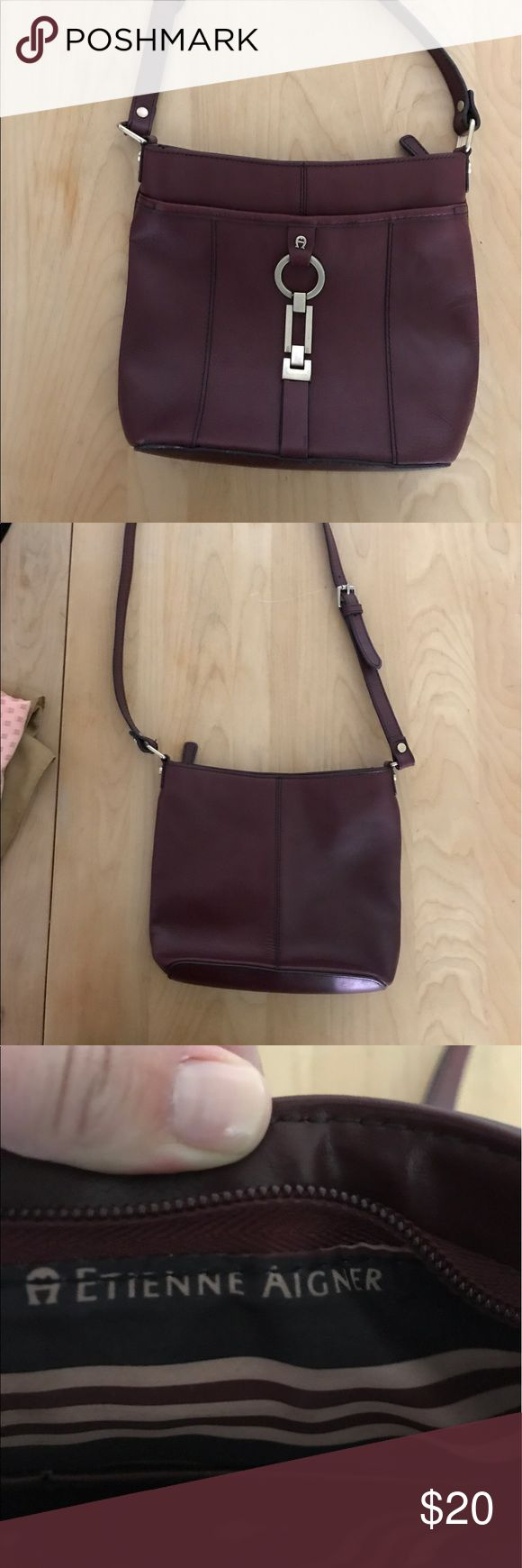 Burgundy crossover purse Entienne Aigner Good size crossover bag! Good used condition! Etienne Aigner Bags Crossbody Bags