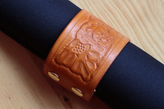 Floral Hand Carved Leather Bracelet by Tina's Leather Crafts on Etsy.com.  Repin To Remember.