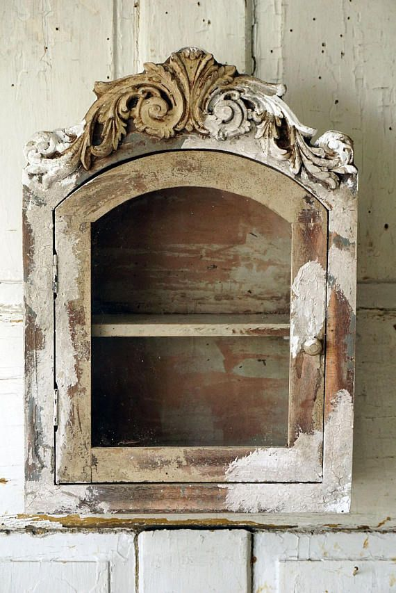 Check out Cabinet display wall hanging distressed French farmhouse ornate chippy painted shelf glass door shabby cottage chic decor anita spero design on anitasperodesign