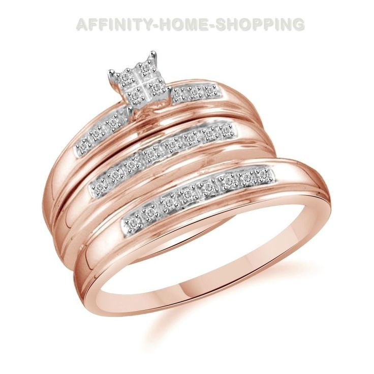 Diamond Trio Set 0.20 Ct 10K Rose Gold Round Cut Engagement Ring Wedding Band #AffinityHomeShopping