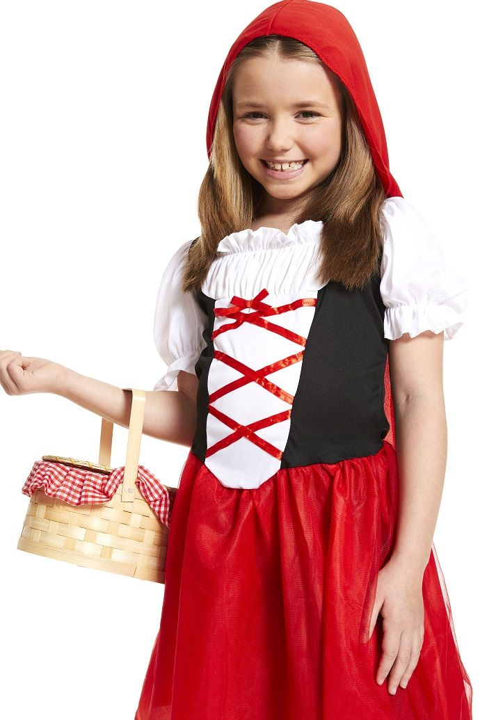 Girls Little Red Riding Hood Costume Kids Book Day Storybook Fancy Dress Outfit