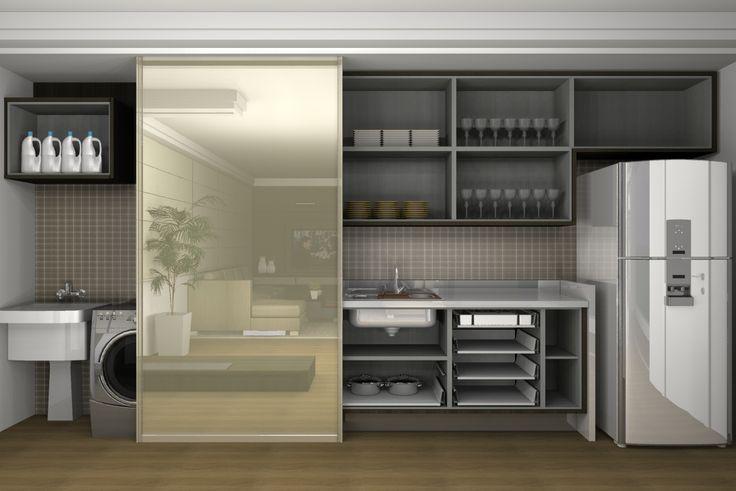 Apartamento de 63m2 – tipo Loft – para casal despojado e que gosta de receber bem os amigos em casa. Cozinha integrada à sala, esconde a lavanderia através de uma única porta deslizante. O Home Office foi pensado junto ao corpo da estante que fica na sala, assim também como uma área de armários complementar …