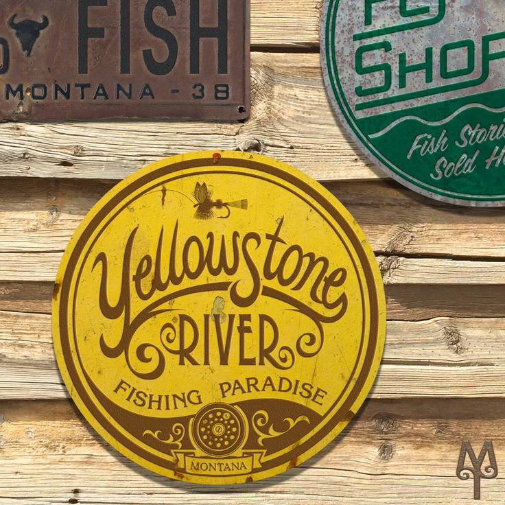 A Vintage Yellowstone River Fishing Paradise wall sign hangs on a building in Virginia City, Montana. Buy it on the Montana Treasures store!