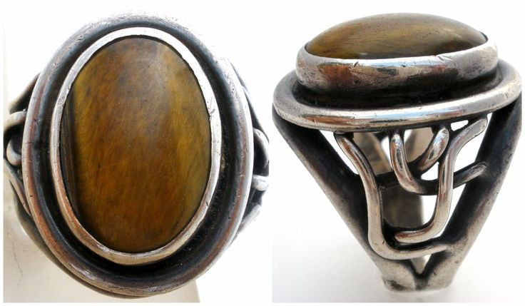 """Vintage Men's Tiger's Eye Ring Sterling Silver Size 10 Large Brown Gemstone 925  This is a well made sterling silver ring with a large oval tiger's eye gemstone.   This ring is size 10, measures .1"""" wide and weighs 14 grams.   It has no markings and tests positive for sterling silver."""
