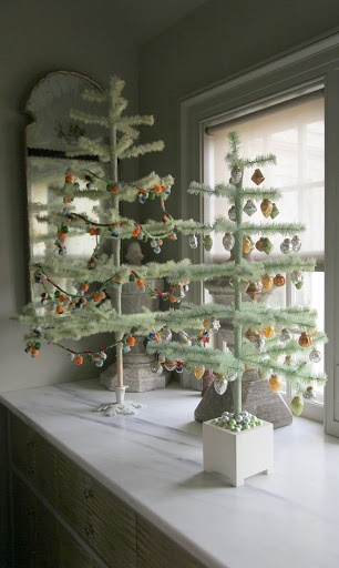 Pale green feather trees in the servery (Martha Stewart)