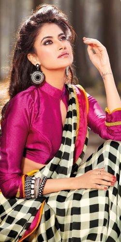 Off White Faux Georgette Saree #saree #sari #blouse #indian #outfit  #shaadi #bridal #fashion #style #desi #designer #wedding #gorgeous #beautiful