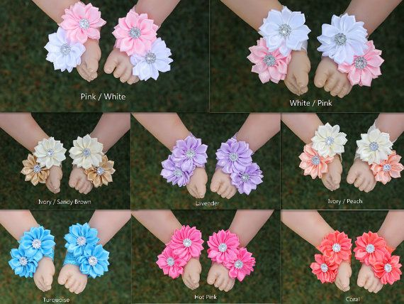Baby Girl Barefoot Sandals Foot Flower Shoes Foot Band by ABCDidi
