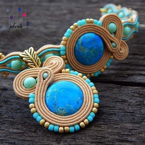 Lazuli set #sutasz #soutache #jewelry #bijoux #handmade #pendant #bracelet #fashiongram #fashion #madeinpoland