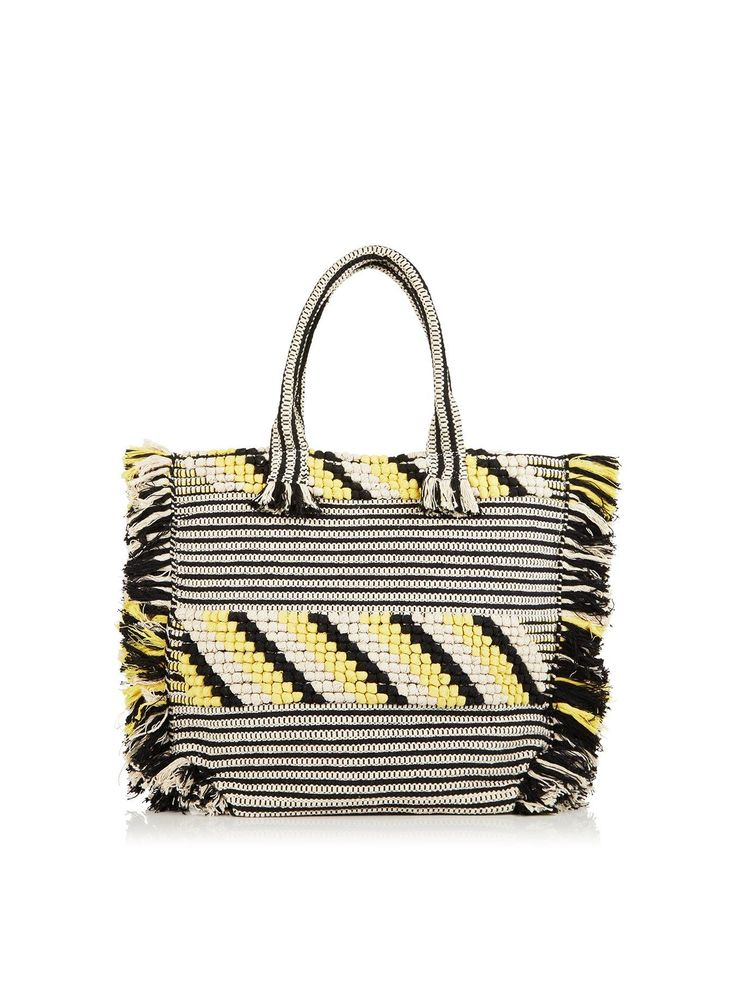 WHISTLES Woven Fringed Tote - Black/white/yellowSize & FitDimensions: Height: 38cm x Width: 53cm x Depth: 10cmHandle drop: 21cm DetailsWoven Fringed Tote by WhistlesBlack/white/yellowThis large playful tote features a vibrant design that's perfect for pairing with your off-duty wardrobe this summer - easily fits all of your daily essentials as well as larger items like a tablet, magazines and an extra layerCrafted from woven soft cotton in contrasting black, white...