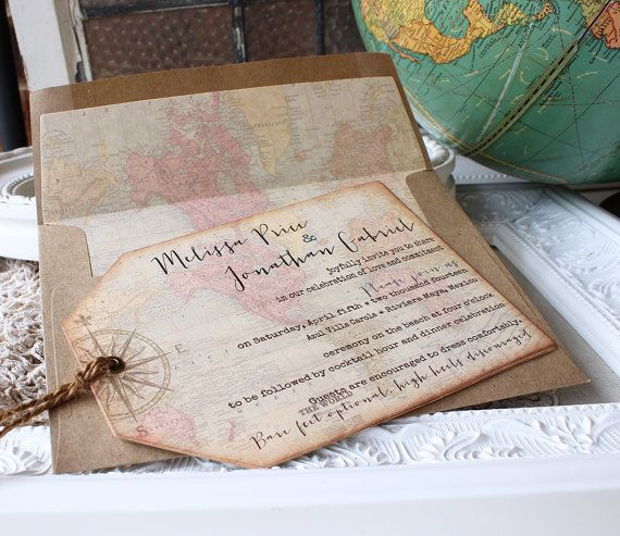 Vintage World Map Wedding Invitation  Hinged Shipping Tags