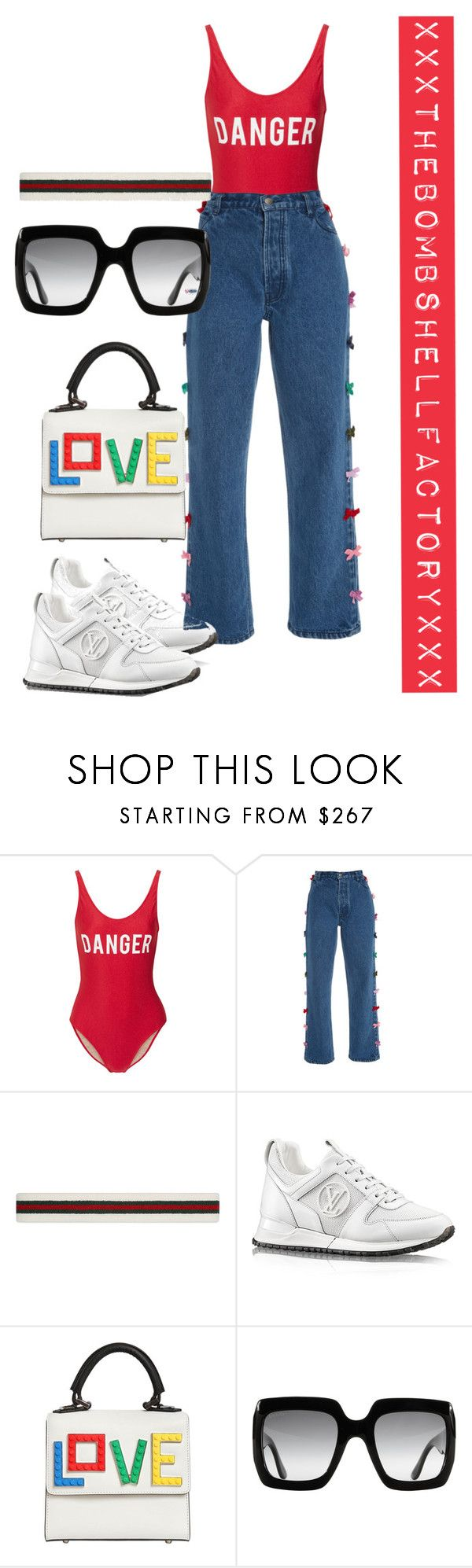 """""""the road to 1 million views: dangerously in love"""" by xxxthebombshellfactoryxxx ❤ liked on Polyvore featuring ADRIANA DEGREAS, Gucci and Les Petits Joueurs"""