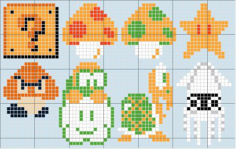Continuing with the mini theme...Here is a cross stitch pattern of some simple sprites from the original Super Mario Brothers. (by request) Super Mario Brothers 1 Mini Directions... Pattern created...