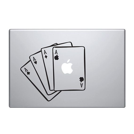 Four aces vinyl decal sticker to fit macbook pro custom sizes available dollar bills bling precision die cut