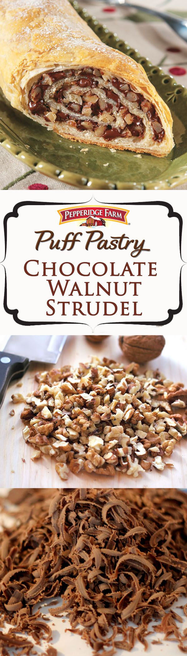 Chocolate Walnut Strudel Recipe.  This exquisite holiday dessert features a luscious chocolate and walnut filling, rolled up in golden Puff Pastry. Recipe also includes some simple (yet impressive!) decorating tips. It's the perfect choice when hosting a holiday party or attending a holiday potluck.   http://www.puffpastry.com/recipe/23999/chocolate-walnut-strudel