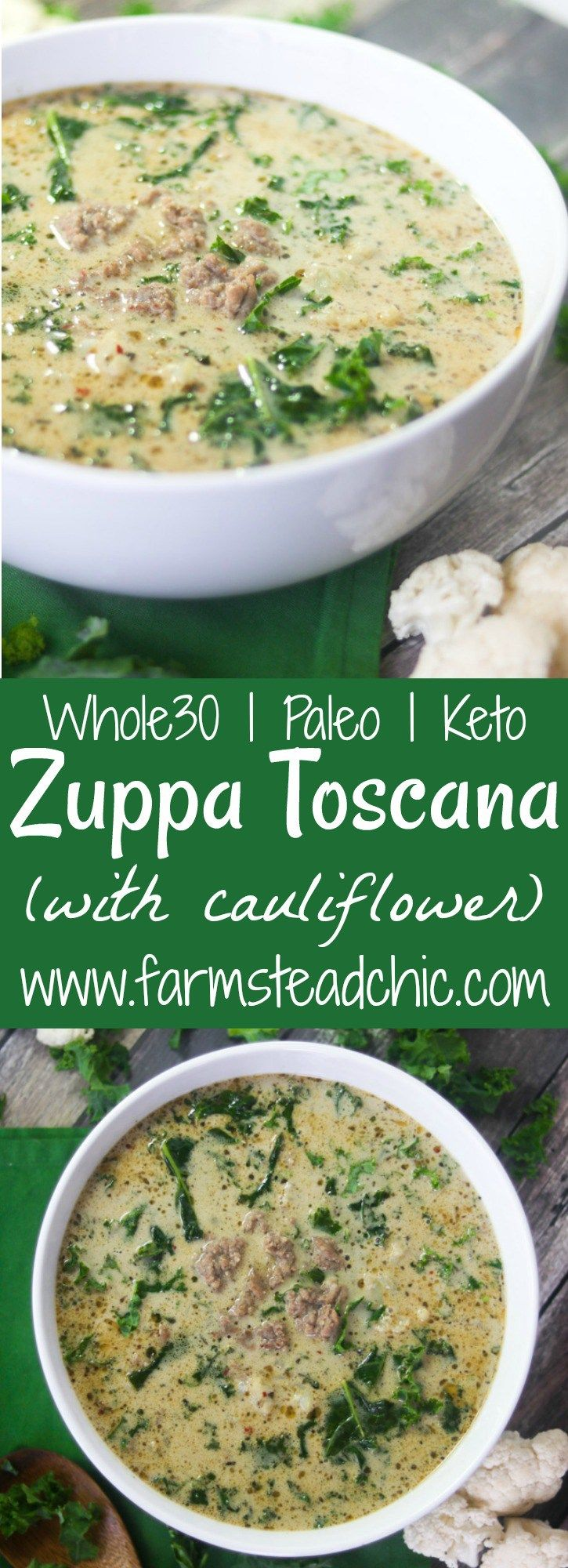 With this Creamy Keto Zuppa Toscana with Cauliflower, you can have your soup, stay low carb + eat it too! Dairy free, gluten free, Whole30, Paleo, low-carb.