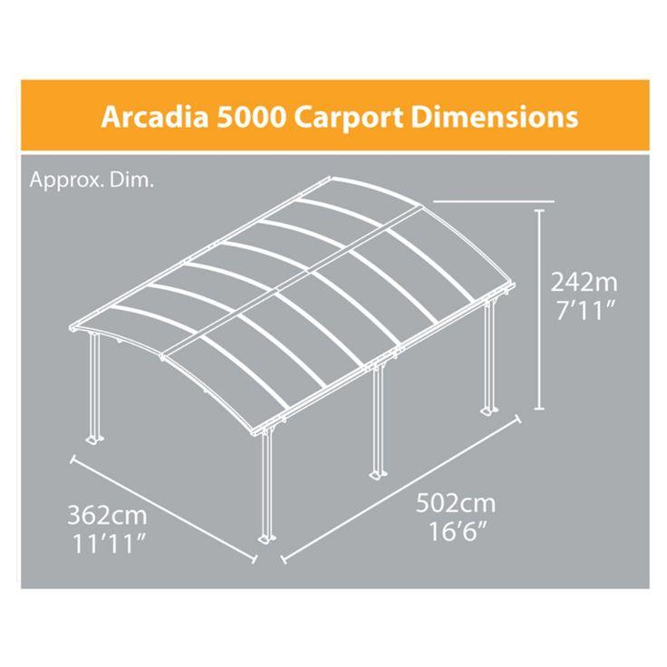 Palram Arcadia Carport Patio Cover Kit -
