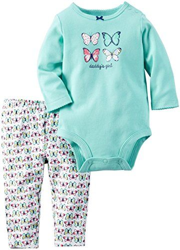 Carter's Baby Girls Bodysuit Pant Sets, Mint, 9 Months